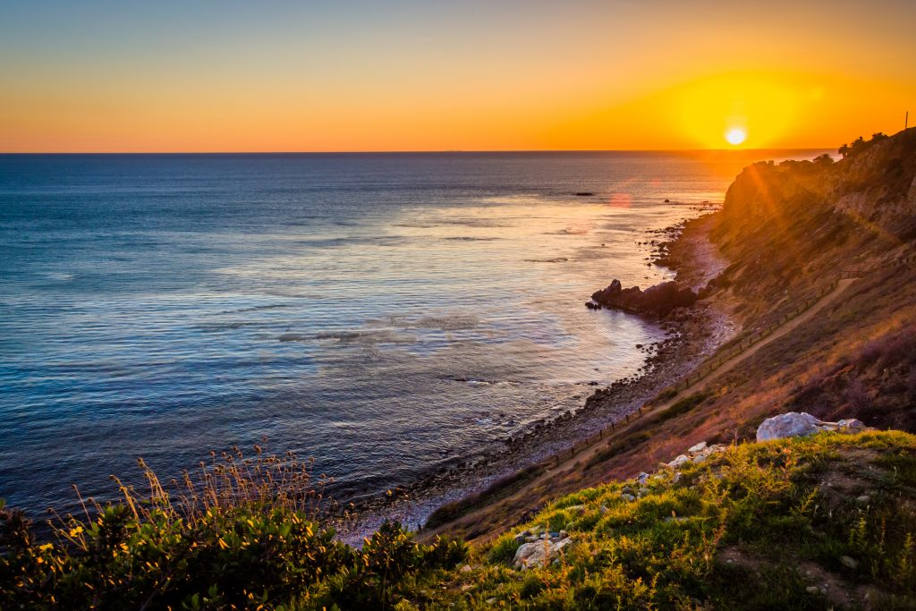 View of Pelican Cove at sunset, in Ranchos Palos Verdes, California.