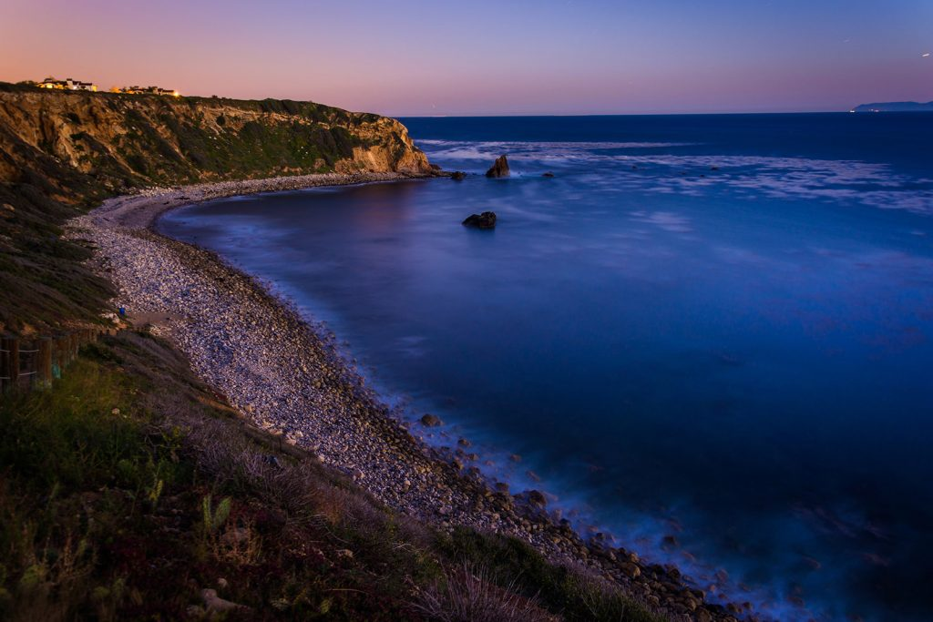 View of Pelican Cove at twilight, in Ranchos Palos Verdes, California.